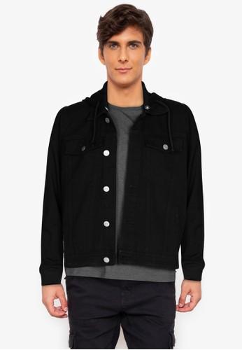 ZALORA BASICS black Acid Wash Denim Hooded Jacket 60FD8AA7ADB8B4GS_1