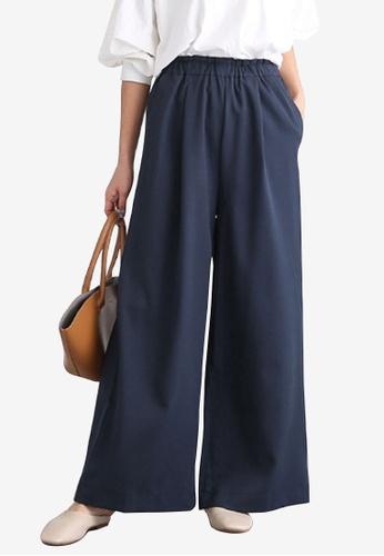 Zafiti blue Women's Elastic Waist Loose Cotton Pant - Blue FF016AA272C421GS_1