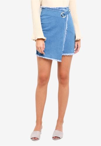 ZALORA blue Denim Wrap Skirt 62B75AAD0057EDGS_1