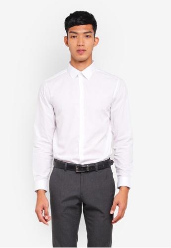 Burton Menswear London white White Slim Fit Easy Iron Shirt 842F8AA093A56FGS_1