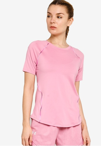 Under Armour pink UA Rush Scallop Short Sleeve T-Shirt EC198AAD90B6F4GS_1