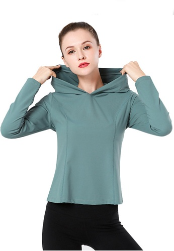 B-Code green ZYG3063-Lady Quick Drying Running Fitness Yoga Sports Hoody -Green 685E5AA9B7A743GS_1