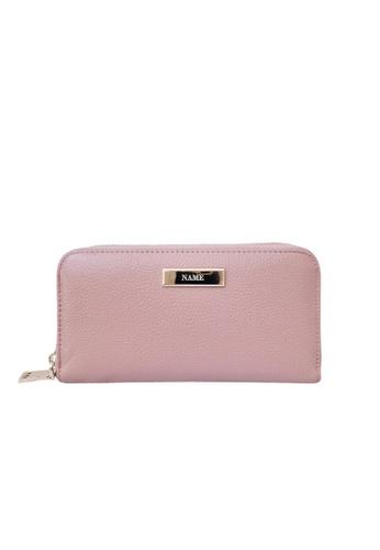 Vayne pink Personalised Leather Long Zip Wallet Pink C2304ACA6266B6GS_1