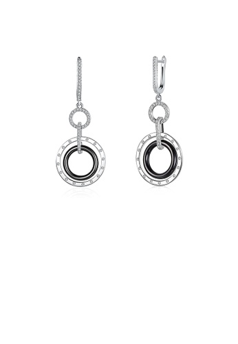 Glamorousky white 925 Sterling Silver Romantic Circle Black Ceramic Earrings with Austrian Element Crystal 1C725AC3C12715GS_1