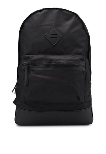 River Island black Front Pocket Backpack RI009AC0RRWYMY_1
