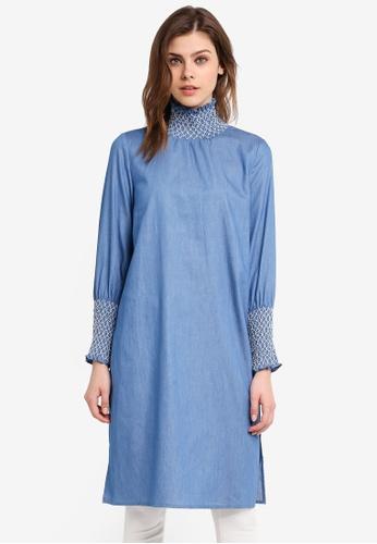 Zalia blue Smocked Tunic 7F706AA5A9D02DGS_1
