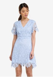 Something Borrowed blue Lace V-Neck Fit And Flare Dress 357EBAA1592297GS_1
