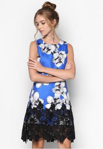 蕾絲拼接印花無袖洋裝, 服esprit高雄門市飾, 洋裝