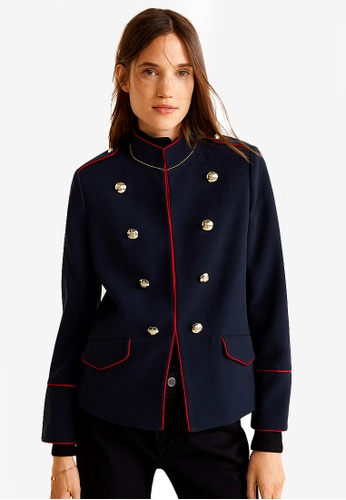 Mango blue and navy Military-Style Beads Jacket 39703AAE381D56GS_1