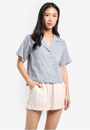 WEEKEND SUNDRIES grey Organic Cotton Button-up Blouse WE453AA0FXULSG_1