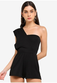 bac94e38229 MISSGUIDED black One Shoulder Layer Playsuit 17DDEAACFEFCA8GS 1