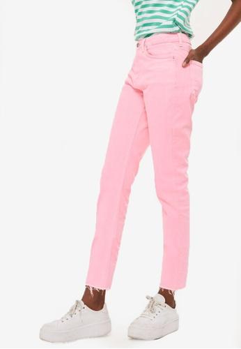 TOPSHOP pink Petite 28 Inch Raw Hem Straight Leg Jeans TO412AA31RGYMY_1