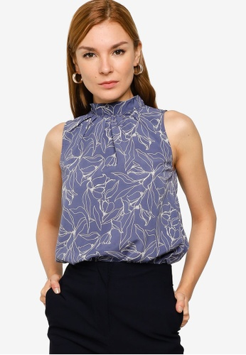 ZALORA WORK blue Asymmetrical Hem Top 6ECB6AA03FDDDFGS_1