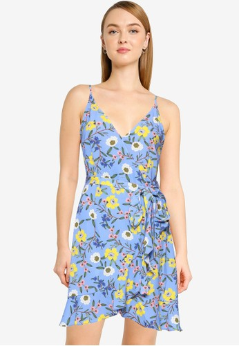 French Connection blue Eloise Verna Crp Ruffle Cami Dress AB089AA6B77237GS_1