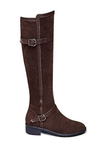 Twenty Eight Shoes 褐色 VANSA 拼色牛絨騎士靴 VSW-B340 3367DSHCD52E13GS_1