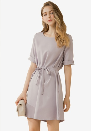 Eyescream grey Waist Tie Flare Dress 0FDCCAAC037B52GS_1