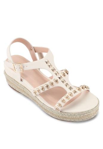 鉚釘麻編楔形涼鞋, 女鞋, 楔zalora鞋形涼鞋