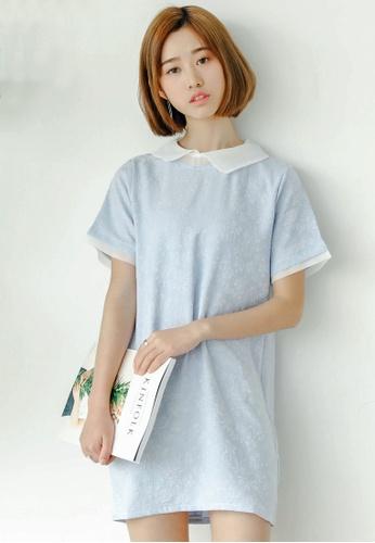 Shopsfashion blue Textured Cammie Shift Dress SH656AA33YVISG_1