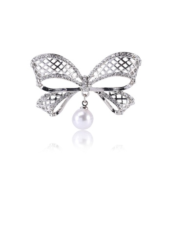 Glamorousky white Fashion Simple Ribbon Imitation Pearl Brooch with Cubic Zirconia 21F01ACA97F1A6GS_1