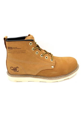 midzone yellow Genuine Leather Steel Toe Safety Boots MI949SH16ACLMY_1