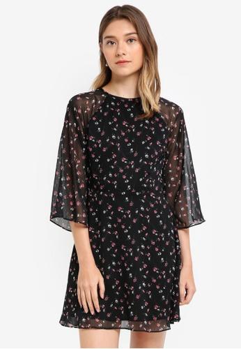 Something Borrowed black Sheer Raglan Fit & Flare Dress F1B1FAA92F3C00GS_1