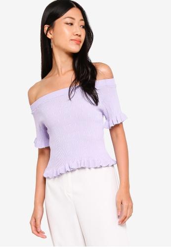ZALORA 紫色 荷葉飾滾邊針織上衣 798C5AAFD397BAGS_1