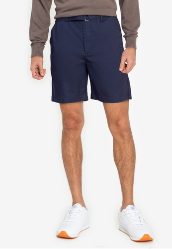 ZALORA BASICS navy Belt Strap Shorts 07611AAA27F4BDGS_1