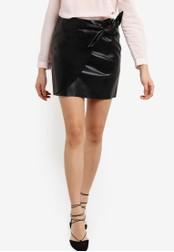 Miss Selfridge black Black PU Wrap Skirt MI665AA89WPEMY_1