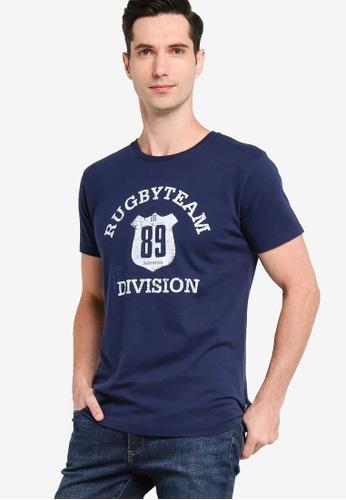 Sacoor Brothers navy Short Sleeve T-Shirt With Artwork 11BEEAA8C4BBEFGS_1