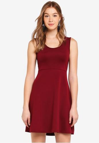 ZALORA BASICS red Basic Scoop Neck Fit & Flare Dress 6C1DEAAE6AEA70GS_1