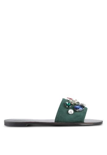 Something Borrowed green Embellished Sandals 4C295SH0107758GS_1