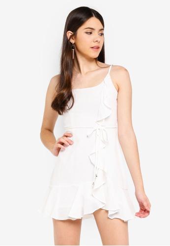 INDIKAH white Ruffle Hem Ruched Dress CF7B0AA0EF77DCGS_1