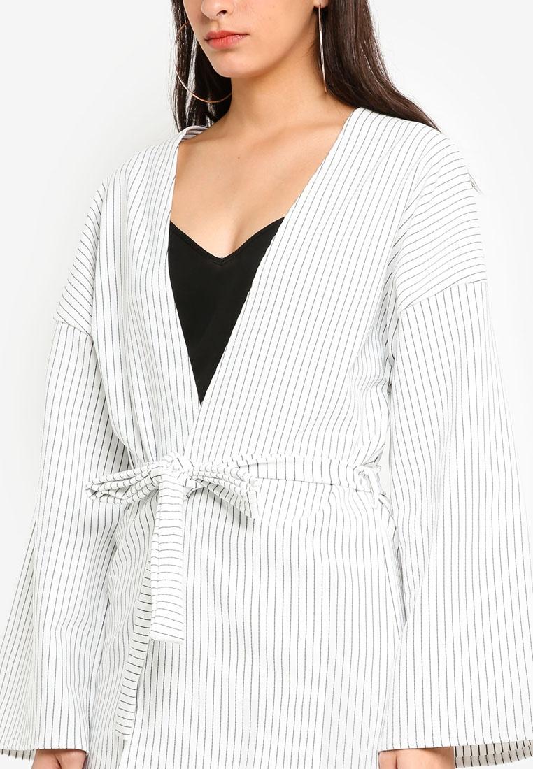 Jacket Kimono Pinstripe MISSGUIDED White Sleeve tHqpawCx