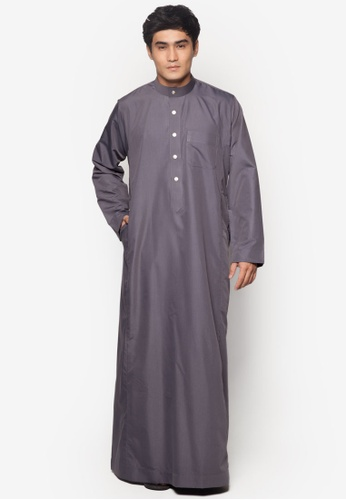 Amar Amran grey Jubah A Regular Fit AM362AA26NAZMY_1