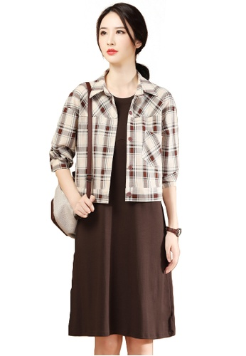 A-IN GIRLS brown and beige (2PCS) Checkered Shirt Dress Suit A7675AA99B2815GS_1
