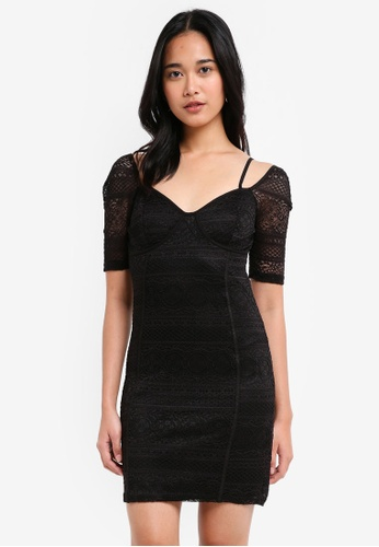 TOPSHOP black Sweetheart Neck Lace Mini Bodycon Dress A4024AACB7BD5DGS_1