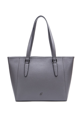 ENZODESIGN grey ENZODESIGN Saffiano Leather Top Shoulder Tote B12183RED 5A4F8ACB80A5EDGS_1