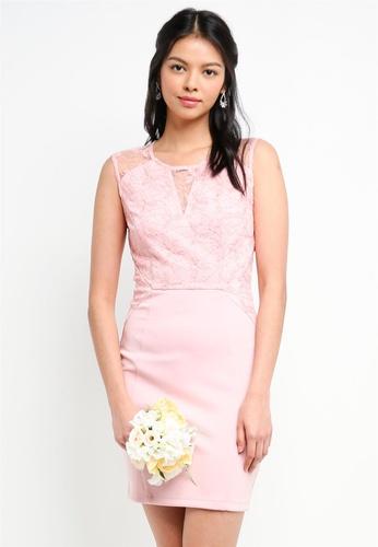 ZALORA pink Bridesmaid Lace Overlay Pencil Dress 31DC0AA52340FFGS_1