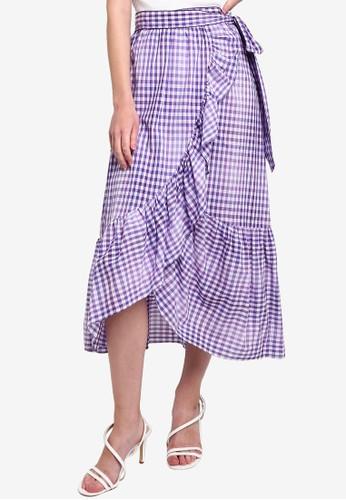 Hopeshow purple Ruffle Checkered Midi Skirt AFEA0AAA3CDD4AGS_1