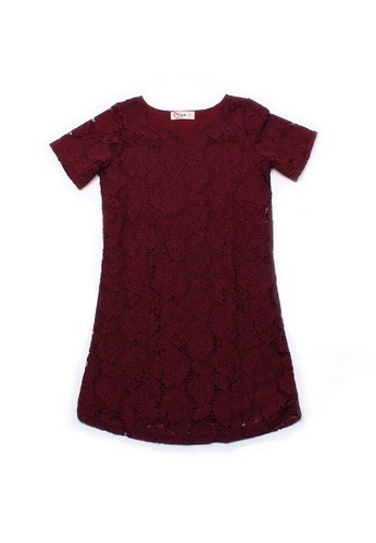 Mini Moley red Floral Lace Girl's Shift Dress EE67FKACEF0B78GS_1