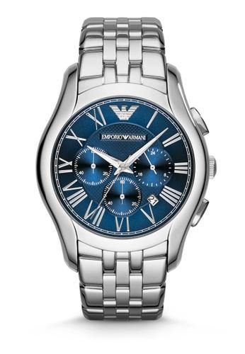 ARMANI blue and silver Silver Steel / Blue Armani AR1787 Watch AR024AC76MWDMY_1