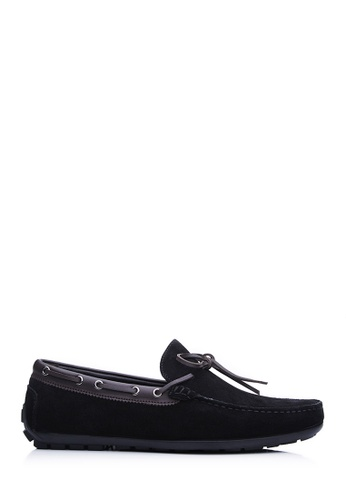 BONIA black Men Black Suede Slip-On Loafers CA629SHA75DF51GS_1