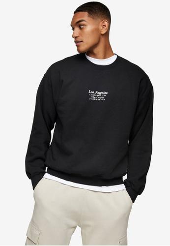 Topman black La Heritage Print Sweatshirt AF940AAB166D40GS_1