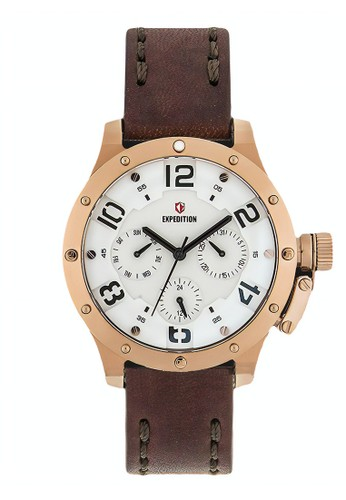 Expedition brown Expedition Jam Tangan - Brown Rosegold White - Leather Strap - 6381 BFLGRSL DE7A7AC6D0ADA4GS_1