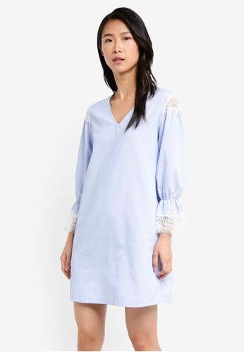 ZALORA blue V Neck Tunic Dress With Puff Sleeve FD91CAADAE96C8GS_1