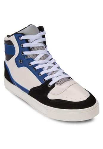 90zalora 男鞋 評價S 異材質拼接高筒運動鞋, 鞋, 休閒鞋