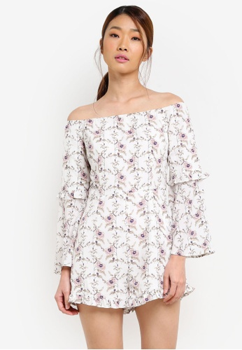 Something Borrowed white Off Shoulder Romper With Ruffles B8A4FAA0DAB0CCGS_1