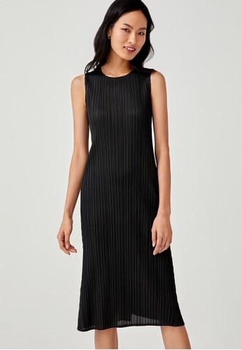 Love, Bonito black Eva Pleated Midi Dress A4F62AAFFD14B9GS_1