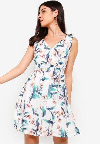 ZALORA white and multi V-Neck Fit And Flare Wrap Dress 95237AA180E6D1GS_1