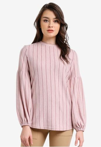 Zalia pink Puff Sleeve Stripe Sweater 820F0AAE14D80EGS_1